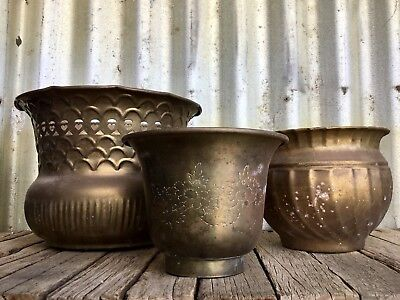 TRIO OF VINTAGE Lovely SOLID BRASS JARDINIERE Planter Pots RETRO