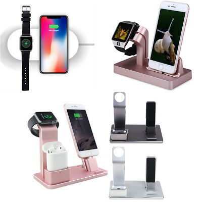 Charging Dock Stand Station Charger Holder For iPhone X 6 7 8 & Plus Apple Watch