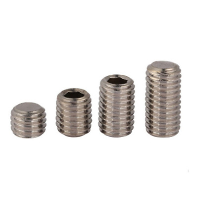 50Pcs DIN913 M3 304 Stainless Steel Metric Thread Grub Screws Flat Point Hexagon