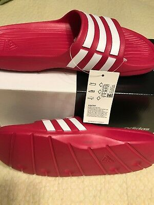 61c8377ae178 Adidas Duramo Slide K Pink White Kids Girls womens Sports Sandals G06797  size 6