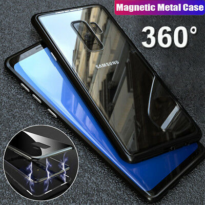 Magnetic Adsorption Metal Case For Samsung Galaxy S9 S8 Luxury Clear Glass Cover