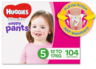Huggies Ultra Dry Nappy (104x),Girls, Size 5 Walker (12-17kg) - Free Postage