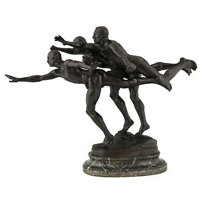 Antique bronze sculpture 3 running athletes TO THE GOAL by Alfred Boucher 1886