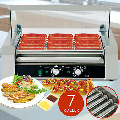 30 Hotdog Roller Commercial Bread Hot Dog 11 Roller Grill Cooker Machine W/Cover