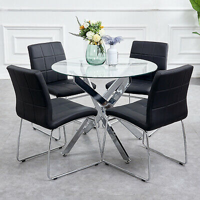 35993f2cbea Round Glass Table and 4 Dining Chairs Set Crisscrossing Metal Base Home  Kitchen