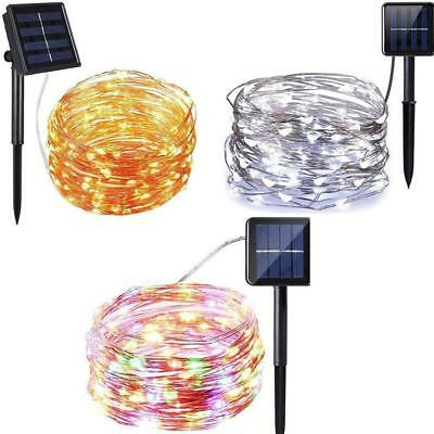 Outdoor Solar Powered 50/100/100 LED Copper Wire Light String Fairy Xmas Party