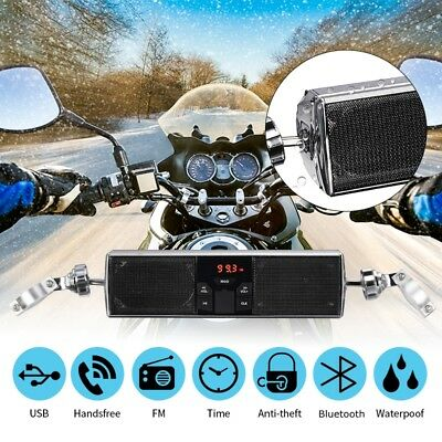 Universal Bluetooth MP3 USB FM Motorcycle Audio Radio Stereo Speaker LED Display