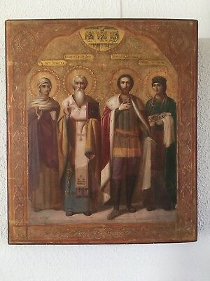 Russian icon,Ikone,Four Saints,19th century, Sergief Posad
