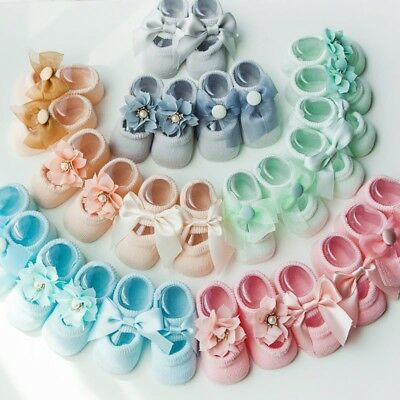 3Pairs/Pack Newborn Baby Girl Toddler Lace Frilly Bow Ankle Anti Slip Socks 0-3T