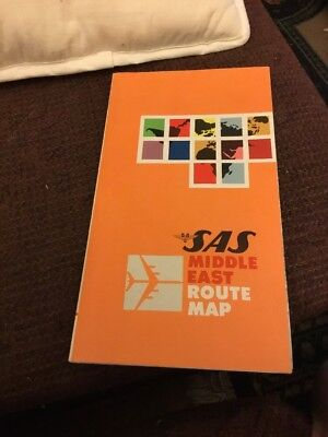 "VTG 1960's SAS Airlines ROUTE Map~""MIDDLE EAST""~Scandinavian AIRLINES System~"