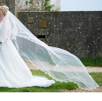 Ivory wedding veil, 2 tier, long length , lace edge by Richard Designs