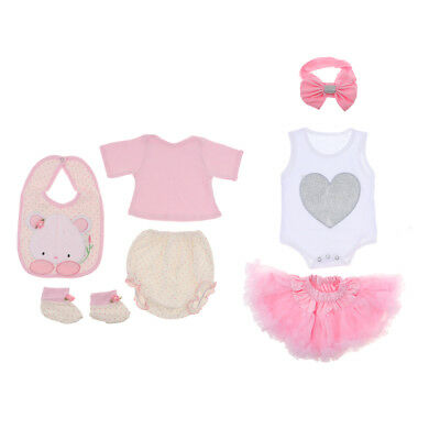 c00d71eaf83 8pcs Cute Rompers Skirt Headband for 22-23inch Reborn Baby Girl Doll Clothes
