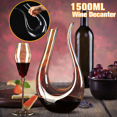1.5L Luxurious Crystal Glass U-shaped Horn Wine Decanter Pourer Wine Container
