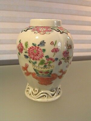 Antique Chinese Export Porcelain Tea Caddy Famille Rose Qianlong Period 18th c
