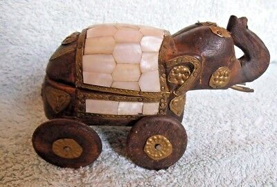 Vintage Asian India Orissa Temple Toy Hand Carved Wood Brass Elephant Box