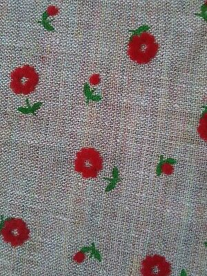 "Vintage Flocked Fabric Red Flowers Daisys Semi Sheer Beige 1 Yard 44"" Wide"