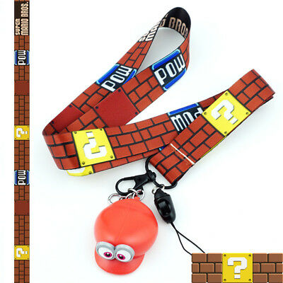 Super Mario Lanyard Neck Strap Charms Cell Phone Rope Anime Cartoon KeyChain Cos