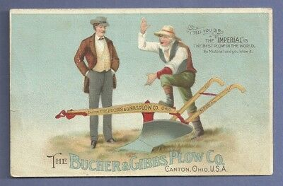 1890 Trade Card BUCHER & GIBBS PLOW IMPERIAL HARROW Canton Ohio