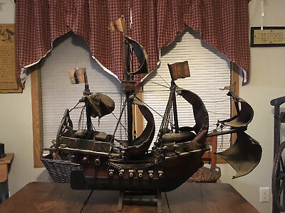 """Large 29"""" Antique Folk Art Pirate Ship Model-Leather Sails-Wood-Rope-Metal Flags"""