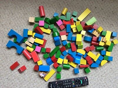 Set Of Child's Wooden Building Blocks Painted