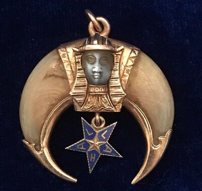 Antique Mason Shriner Crescent Moon Pharaoh Pendant 18K Gold Pendant 1922 Rare