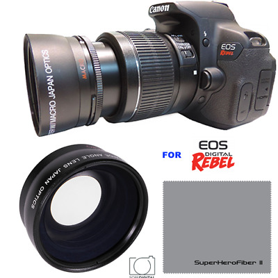 58MM .43x Wide Angle Macro Lens for Canon Rebel T7i T6i T6 T5 T3 SL2 SL1 18-55mm