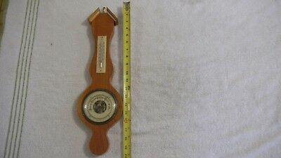 Vintage Barometer & Therometer Made In Germany For Parts Or Repair Wood Base