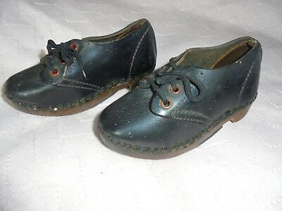 Pair Of Vintage Antique Victorian Child's Leather Clogs.good Display Item