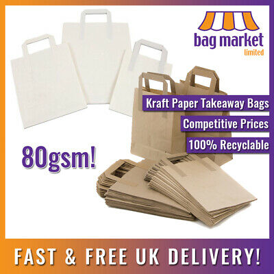Kraft Paper Brown & White Carrier Bags! | Takeaway/SOS/Party/Lunch/Biodegradable