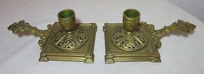pair of 2 antique 1800's ornate Victorian gilt bronze chamber candle holders