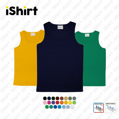 Kids Singlet 100% Polyester Cool Dry Breathable Plain Colour Sports Singlet