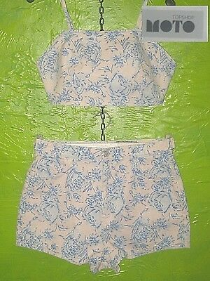 Topshop Moto Denim Weight Bandeau Top & Jeans Style Shorts Blue Roses Uk12 30W