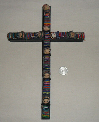 "Vintage Handmade Guatemalan 12"" Worry Doll Wood Wooden Cross"