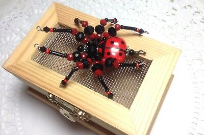 Ladybug Ladybird Spider Cricket Lovebug Insect Bug Screen Wood Box SueDeYoung