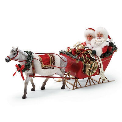 Clothtique Possible Dreams 'One Horse Open Sleigh' Santa and Mrs Claus 6000717