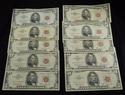 Lot of 10 $5 United States Note Red Seal (9) 1963 (1) 1953A