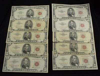 Lot of 10 $5 United States Note Red Seal (6) 1963 (1) 1953 (2) 1953A (1) 1953B