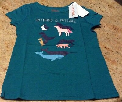 Cat And Jack New Girls Size S 6/6x Dark Teal Short Sleeve Shirt Animals Possible