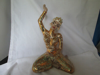 Vintage Yona Lady Asiani Dancer Ceramic Figurine White & Gold With Green Accents