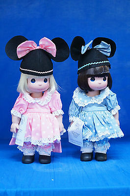 """Pink & Blue Mouseketeer 12"""" Vinyl Doll Set Precious Moments Disney Parks Signed"""