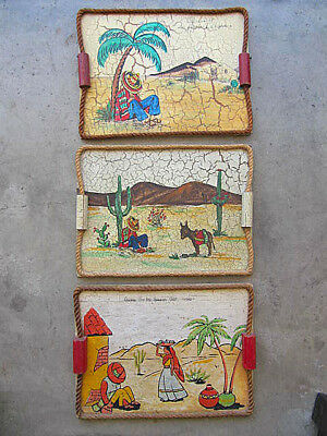 Vintage Mexican Early California Olvera St Folk Art Crackle Trays Lot 3 1940's