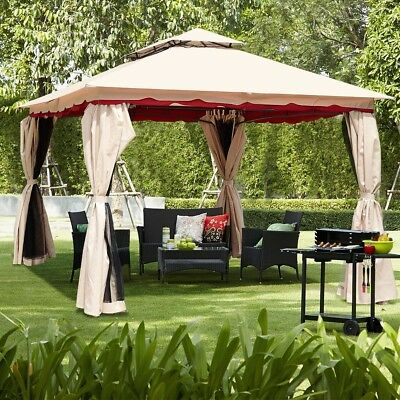 """13""""x10"""" Outdoor Party Vented Gazebo Canopy Sun Shade W/Mosquito Mesh Netting"""