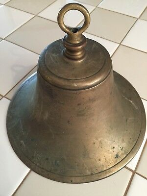 Large Antique Brass Bell.  Either Ship Railroad School Or Dinner Bell.