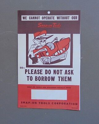 """Vintage """"We Cannot Operate Without Our Snap-On Tools"""" Paper Advertising Sign"""