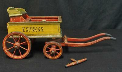Antique Primitive Painted Wooden Express Wagon Child's Toy WOW!