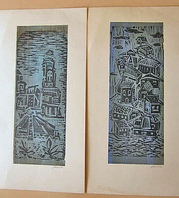 Pair Of Signed Mexico City Mexico 1965 Wood Block Prints Of Village Scenes