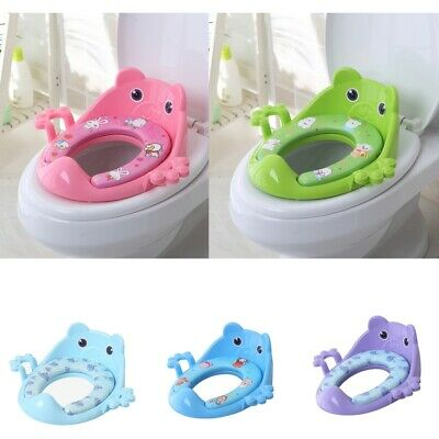 Childrens Cartoon Padded Soft Toilet Training Seat With Handles Baby Toddler