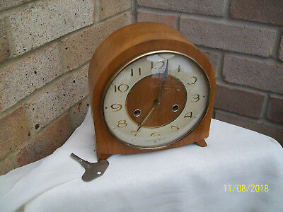 Retro 60s-70s Smiths Enfield wind up oak Hour & Half Hour Chime Mantle Clock GWO