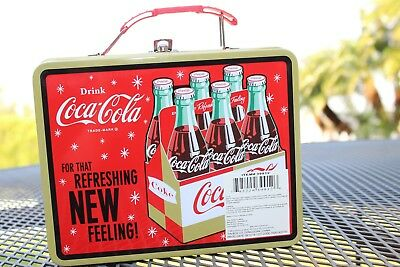 Coca Cola Metal Box with Hinged Lid for Lunch Box, Storing or Decoration