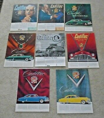 Gm Cadillac Magazine Add Collection Of 8 From The 1940S Including Ww2